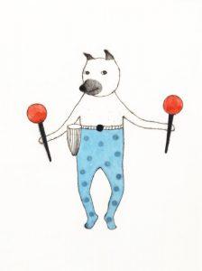 樋勝朋巳「クネクネさん-2」銅版画、手彩色 25×18cm ED:15